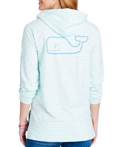Women's Long-Sleeve Striped Whale Terry Hoodie