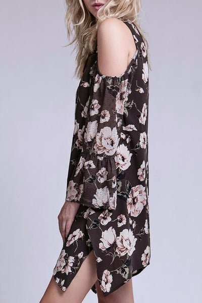 Lace-Up Floral Dress