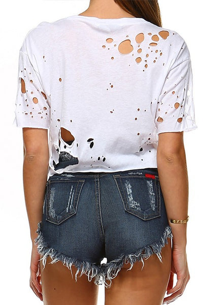 Cropped Distressed Tee