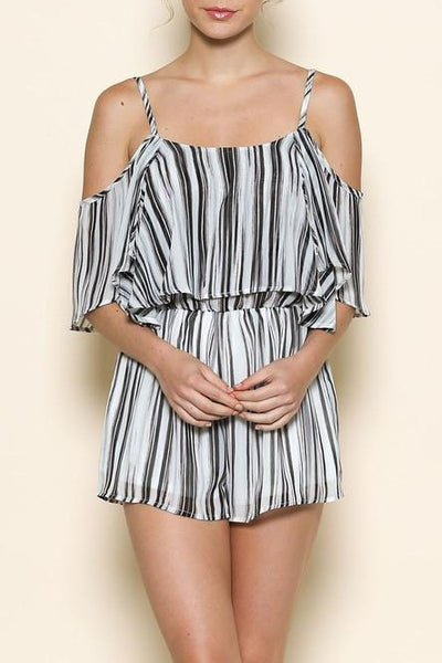 Striped Cold Shoulder Romper