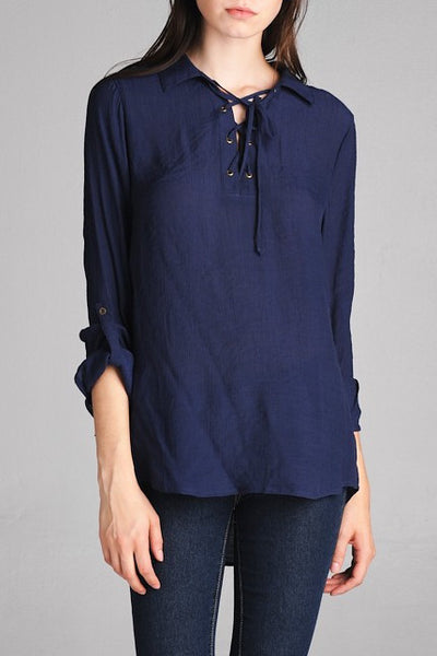 Collared Lace-up Shirt