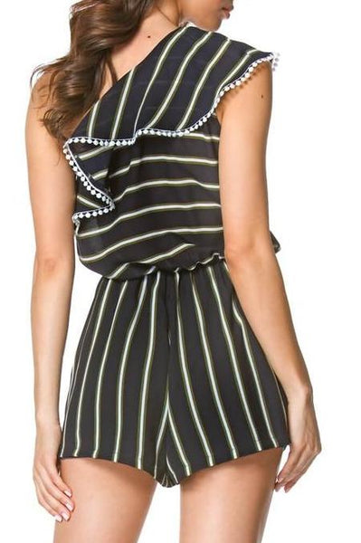 Striped One Shoulder Romper