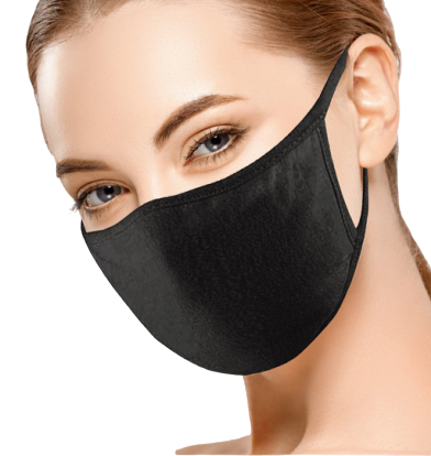 UNISEX Solid Black Face Mask