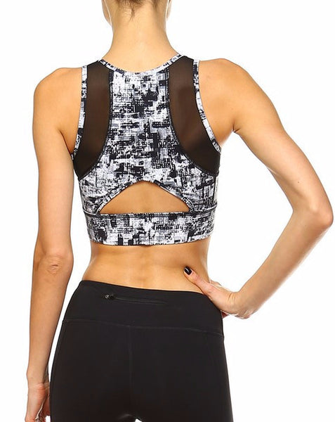 Abstract Print Sports Bra