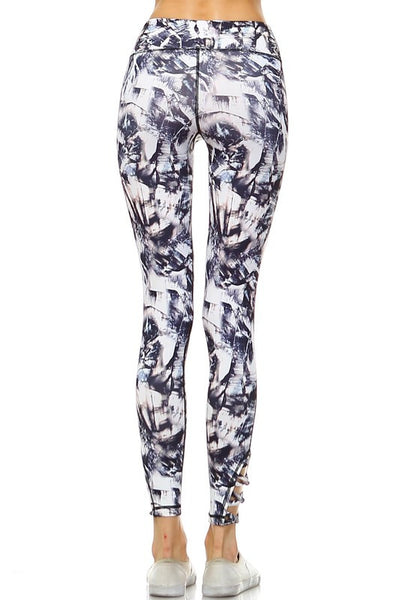 Paint Print Criss Cross Yoga Pant
