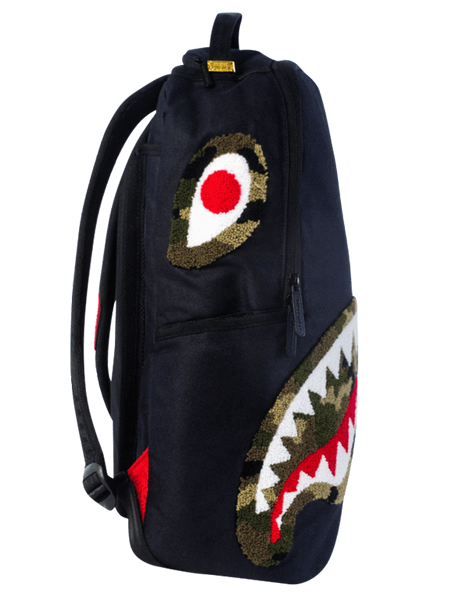 Camo Chenille Shark Backpack