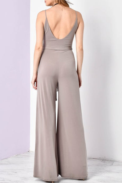 Solid Slit Jumpsuit