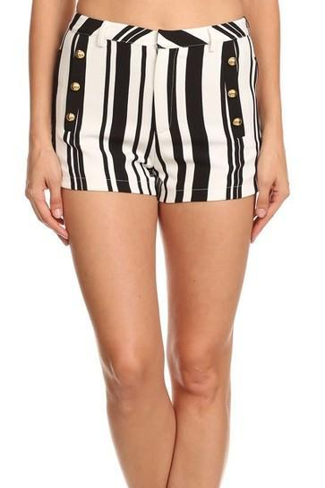 Striped High Rise Shorts