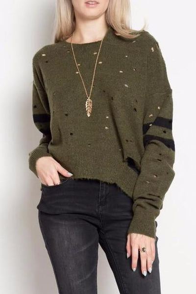Distressed Varsity Sweater