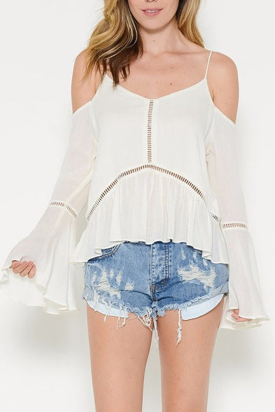 Cold Shoulder Gauze Top
