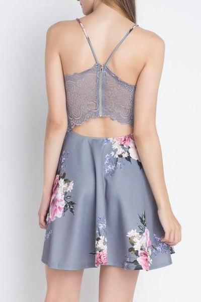 Floral Lace Back Dress