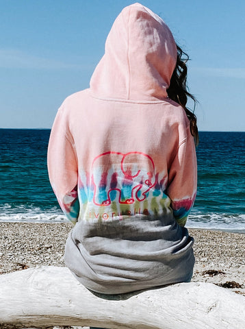 Colorblock Striped Tie Dye Hoodie