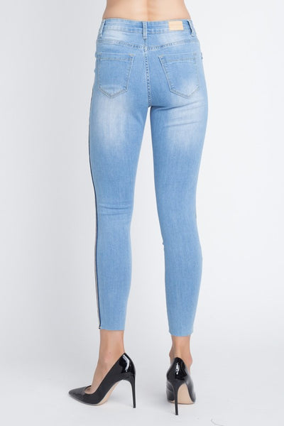 Side Striped Skinny Jean