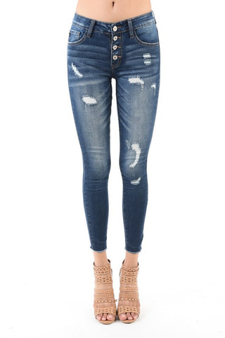 4 Button Ankle Skinny Jean