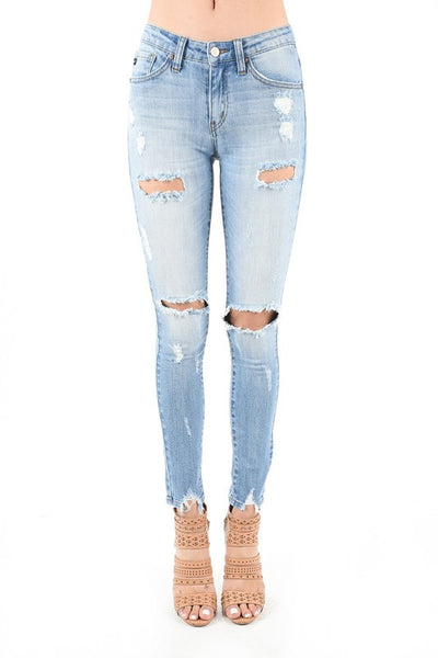 Destroyed Fray Bottom Skinny Jean