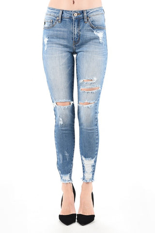 Destroyed Mid Rise Jean