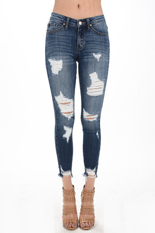 Ripped Fray Bottom Jean