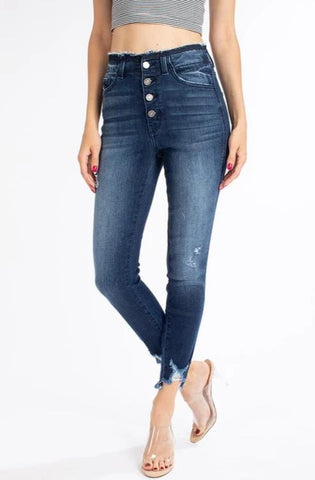 4 Button High Rise Skinny