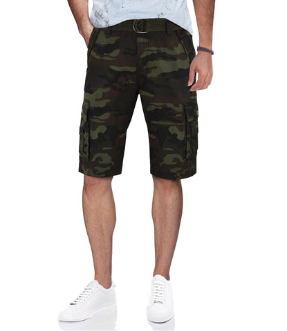 Belted Cargo Double Stitch Shorts