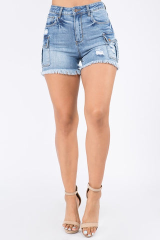 Fray Bottom Cargo Denim Shorts