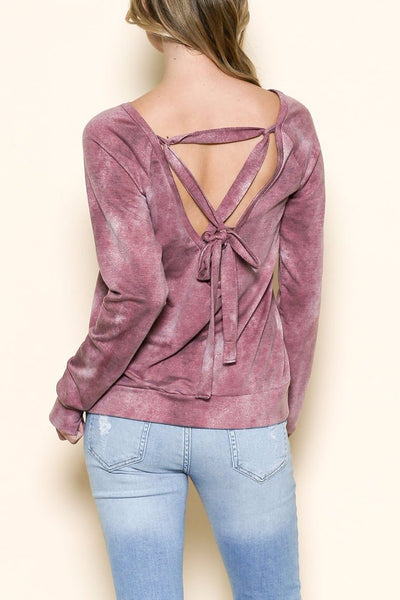 Tie Dye Lace Up Back Top