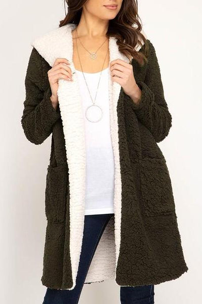 Faux Shearling Fleece Coat