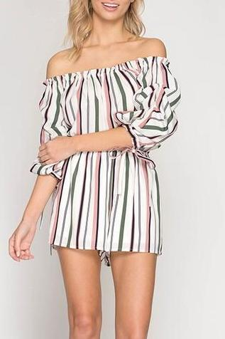 Striped 3/4 Sleeve Romper