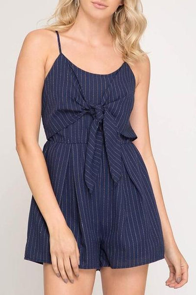 Striped Front Tie Romper