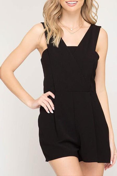 Solid Woven Romper