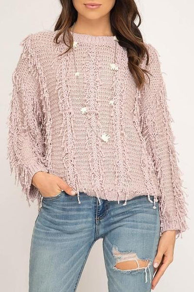 Fuzzy Fringe Sweater