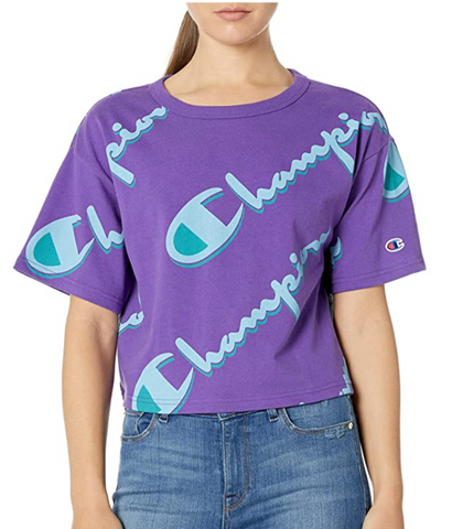 Women's All Over Logo Heritage Cropped Tee