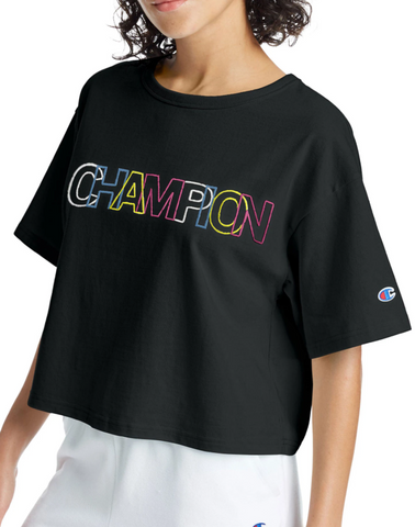 Women's Heritage Embroidered Multi-Color Logo Crop Tee