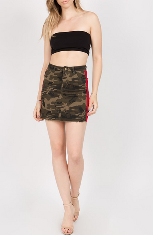 Side Tape Camo Skirt
