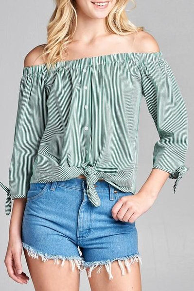 Pin Striped Tie Front Top