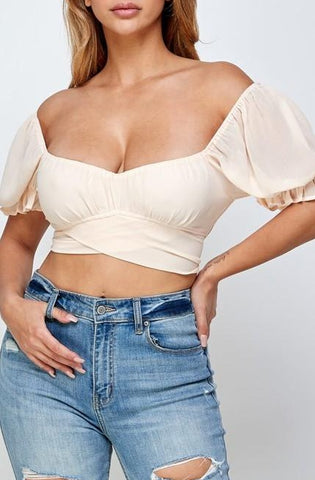 Solid Crop Tie Back Top