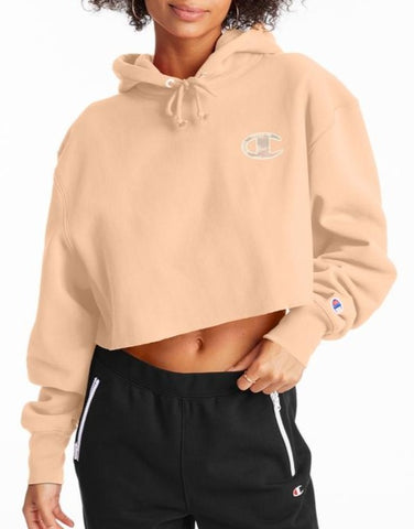 Women's C Logo Applique Reverse Weave Cropped Cut Off Hoodie