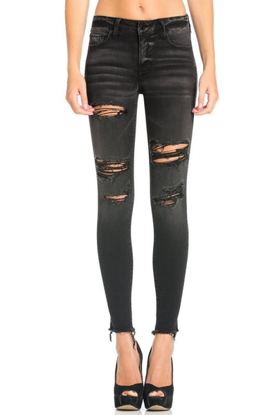 Destroyed Raw Hem Skinny