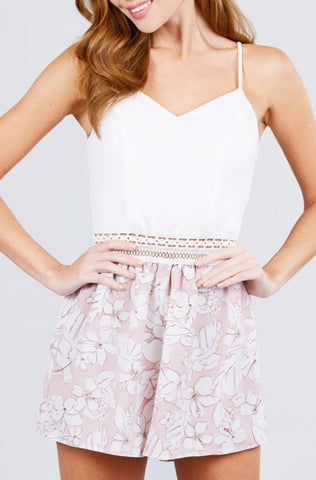 Lace Band Floral Romper