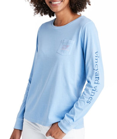 Women's Tri-Color Vintage Whale Long-Sleeve Pocket Tee