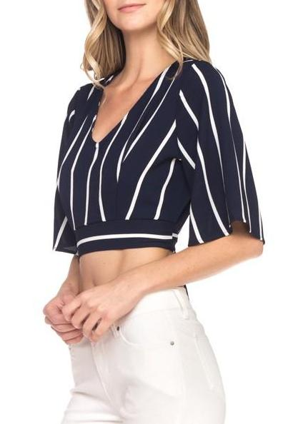 Striped Tie Waist Top