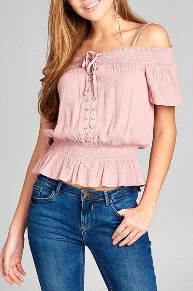 Smocked Woven Top