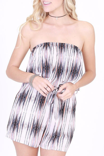 Abstract Striped Romper