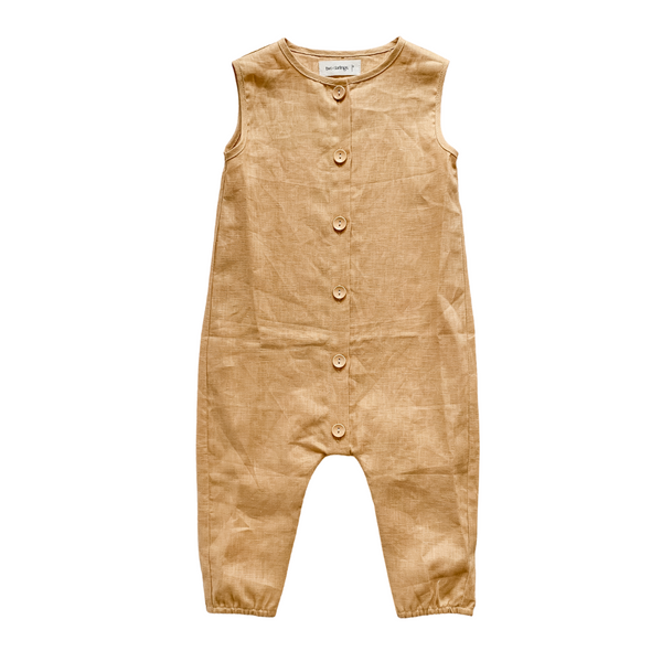 Golden Linen Button Up Romper