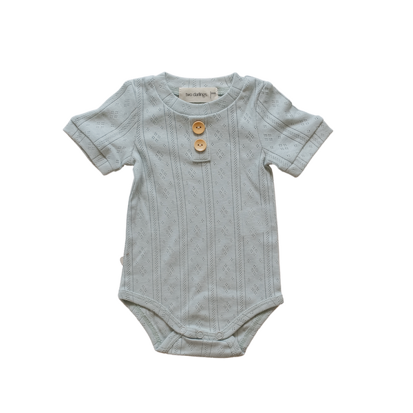 Duck Egg Blue Pointelle Basic Bodysuit