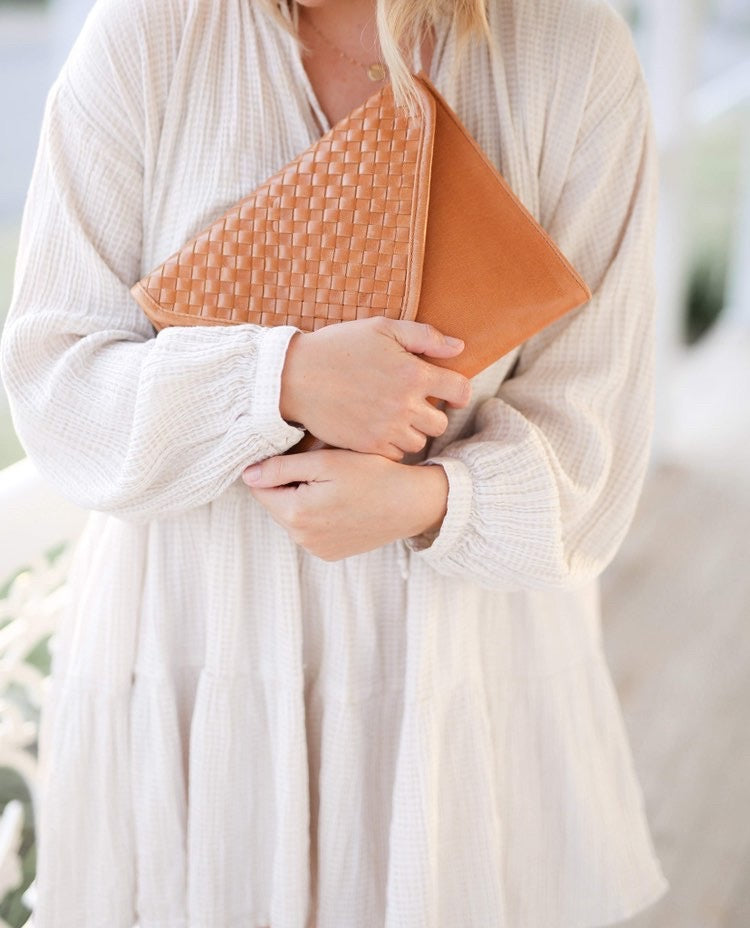 Tan Leather Clutch