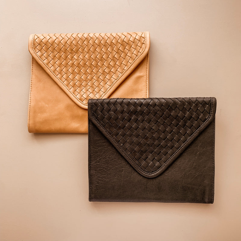 Tan Leather Nappy Clutch