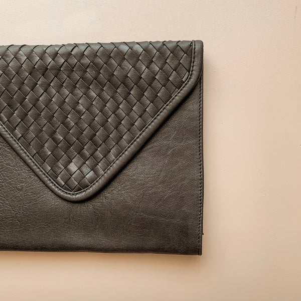 Black Leather Nappy Clutch