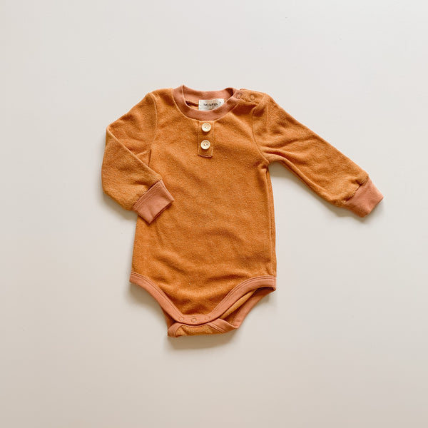 Bronze Long Sleeve Terry Basic Bodysuit