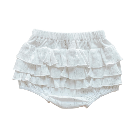 Coconut Pointelle Ruffle Bum Bloomers