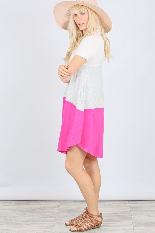 Short Sleeve Color Block Dress